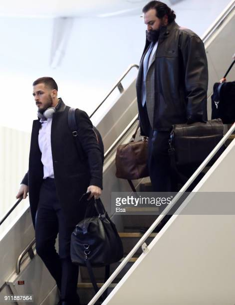Danny Amendola and Matt Patricia of the New England Patriots arrives with his teammates for the Super Bowl LII on January 29 2018 at the...