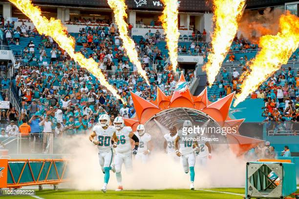 Danny Amendola leads the Miami Dolphins on to the field prior to the game against the Detroit Lions at Hard Rock Stadium on October 21 2018 in Miami...