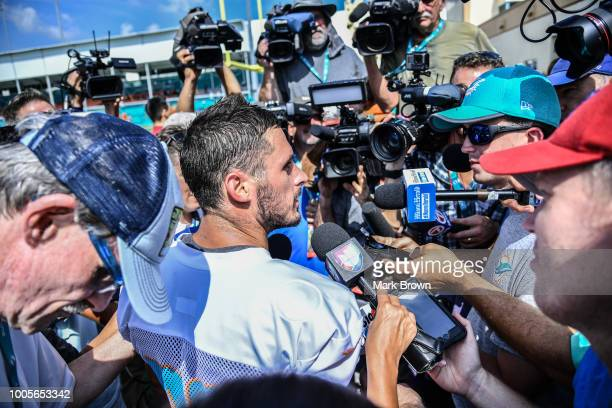 Danny Amendola of the Miami Dolphins answers questions from the media during Miami Dolphins Training Camp at Baptist Health Training Facility at Nova...