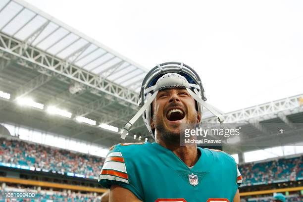 Danny Amendola of the Miami Dolphins celebrates after defeating the New England Patriots 3433 at Hard Rock Stadium on December 9 2018 in Miami Florida