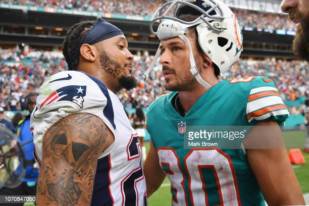 Danny Amendola of the Miami Dolphins celebrates after the win against the New England Patriots at Hard Rock Stadium on December 9 2018 in Miami...