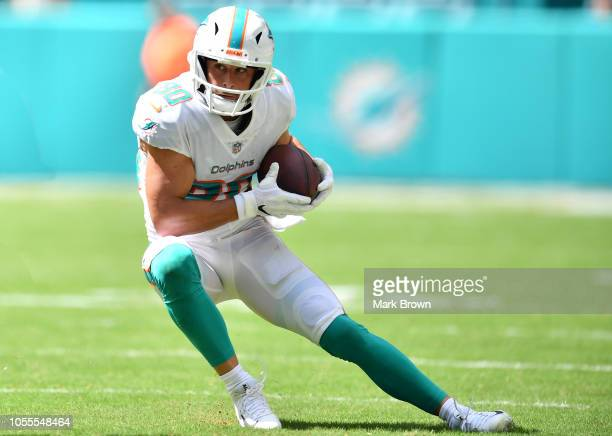 Danny Amendola of the Miami Dolphins in action against the Chicago Bears at Hard Rock Stadium on October 14 2018 in Miami Florida