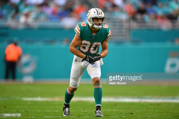 Danny Amendola of the Miami Dolphins in action against the Jacksonville Jaguars at Hard Rock Stadium on December 23 2018 in Miami Florida