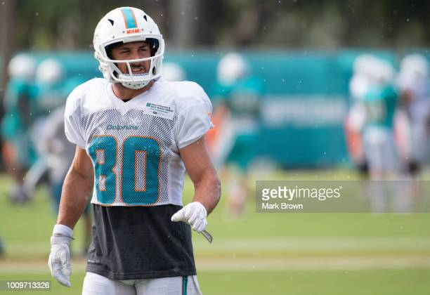 Danny Amendola of the Miami Dolphins in action during Miami Dolphins Training Camp at Baptist Health Training Facility at Nova Southeastern...