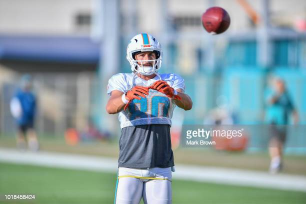 Danny Amendola of the Miami Dolphins in action performing drills during Miami Dolphins Training Camp at Baptist Health Training Facility at Nova...