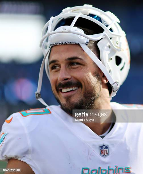 Danny Amendola of the Miami Dolphins look on after the game against the New England Patriots at Gillette Stadium on September 30 2018 in Foxborough...