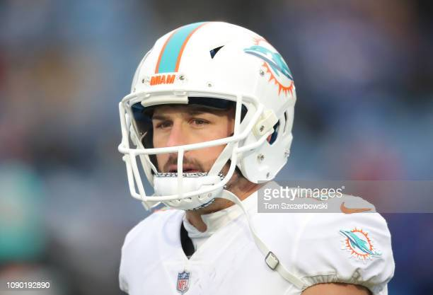 Danny Amendola of the Miami Dolphins looks on during NFL game action against the Buffalo Bills at New Era Field on December 30 2018 in Buffalo New...