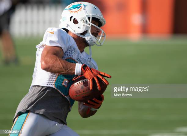Danny Amendola of the Miami Dolphins performing camp drills during Miami Dolphins Training Camp at Baptist Health Training Facility at Nova...