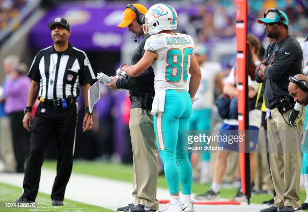 Danny Amendola of the Miami Dolphins speaks with head coach Adam Gase on the sideline in the third quarter of the game against the Minnesota Vikings...