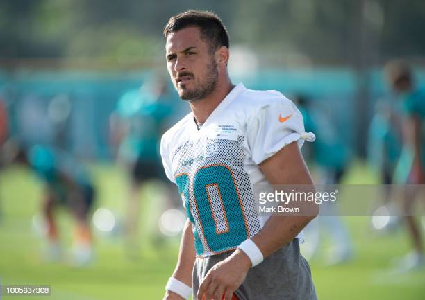 Danny Amendola of the Miami Dolphins warming up on the practice field during Miami Dolphins Training Camp at Baptist Health Training Facility at Nova...