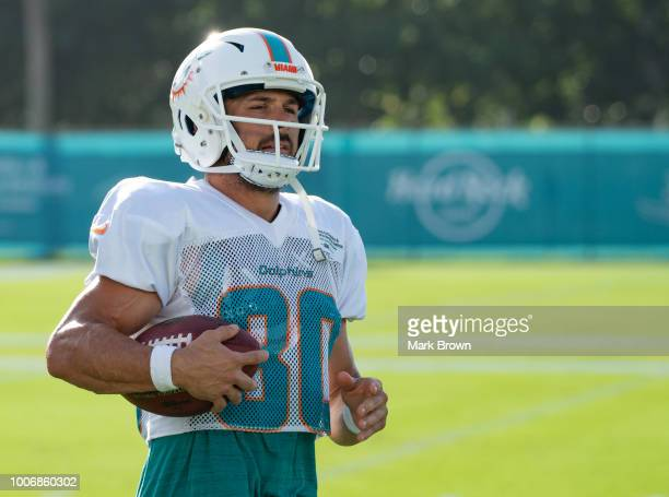 Danny Amendola of the Miami Dolphins warms up before Miami Dolphins Training Camp at Baptist Health Training Facility at Nova Southeastern University...