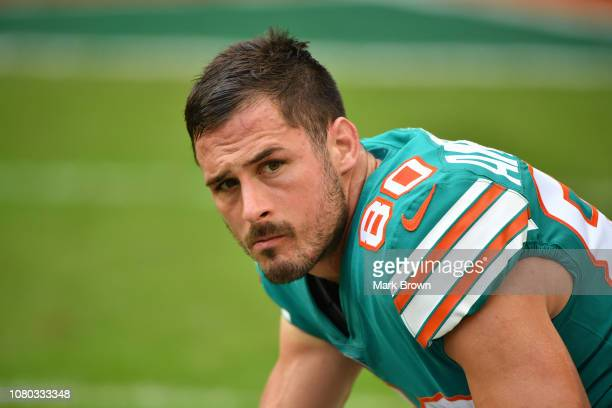 Danny Amendola of the Miami Dolphins warms up before the game against the New England Patriots at Hard Rock Stadium on December 9 2018 in Miami...