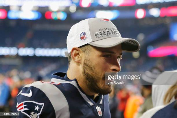Danny Amendola of the New England Patriots celebrates after the AFC Championship Game against the Jacksonville Jaguars at Gillette Stadium on January...