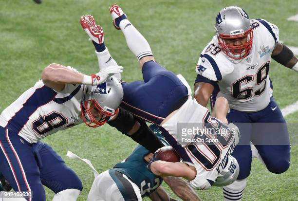 Danny Amendola of the New England Patriots gets tackled by Jalen Mills of the Philadelphia Eagles during Super Bowl LII at US Bank Stadium on...