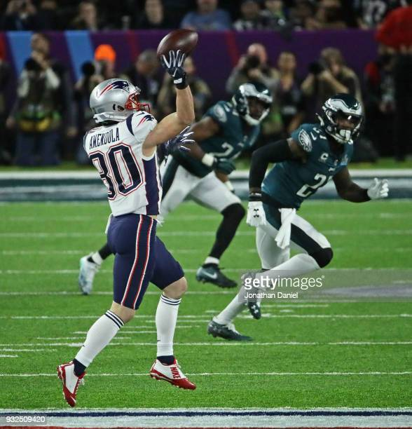 Danny Amendola of the New England Patriots passes against the Philadephia Eagles during Super Bowl Lll at US Bank Stadium on February 4 2018 in...