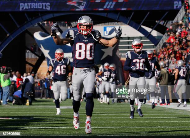Danny Amendola of the New England Patriots reacts before a game against the Miami Dolphins at Gillette Stadium on November 26 2017 in Foxboro...