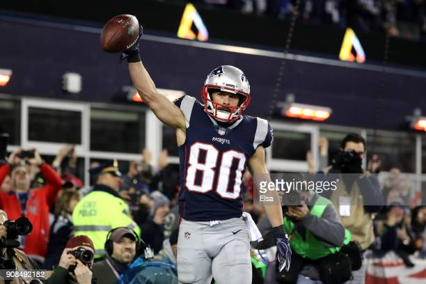 Danny Amendola of the New England Patriots reacts in the fourth quarter after a touchdown catch during the AFC Championship Game against the...