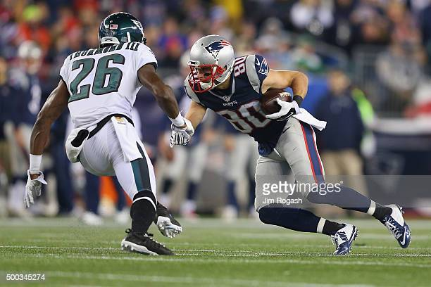 Danny Amendola of the New England Patriots runs with the ball against the Philadelphia Eagles at Gillette Stadium on December 6 2015 in Foxboro...