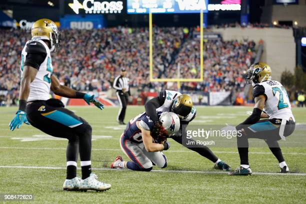 Danny Amendola of the New England Patriots scores a touchdown in the fourth quarter during the AFC Championship Game against the Jacksonville Jaguars...