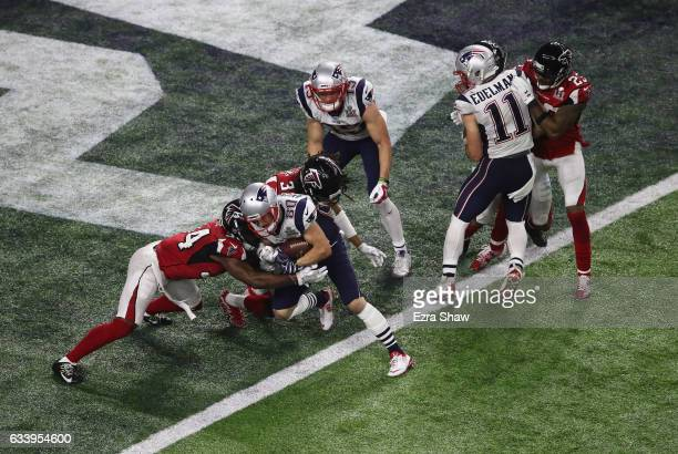 Danny Amendola of the New England Patriots scores a two point conversion late in the fourth quarter against the Atlanta Falcons during Super Bowl 51...