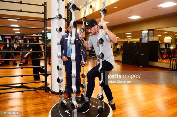 Danny Amendola of the New England Patriots tours the facilities during the opening of Life Time Athletic Chestnut Hill on June 1 2017 in Newton...
