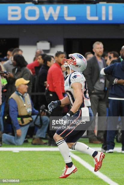 Danny Amendola of the New England Patriots warms up prior to the start of Super Bowl LII against the Philadelphia Eagles at US Bank Stadium on...