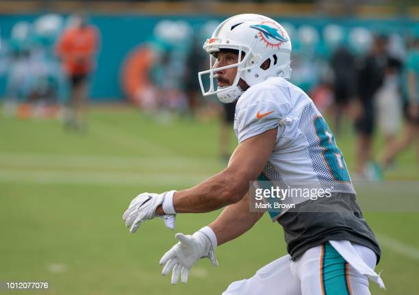 Danny Amendola WR Wide Receiver #80 of the Miami Dolphins getting ready to make a catch during Miami Dolphins Training Camp at Baptist Health...