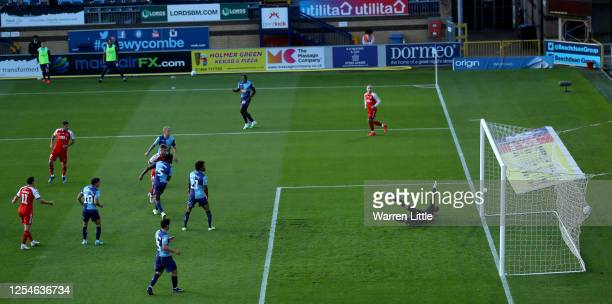Danny Andrew of Fleetwood Town scores the opening goal during the Sky Bet League One Play Off Semi-final 2nd Leg match between Wycombe Wanderers and...