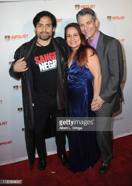 Danny Arroyo Joanie Miller and Jeremy Miller arrive for PreOscar Soiree Hosted By INFOListcom and Birthday Celebration for Founder Jeff Gund held at...