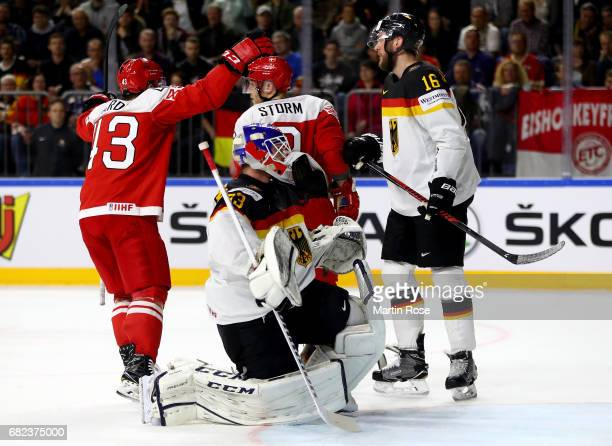 Danny aus den Birken goaltender of Germany reacts during the 2017 IIHF Ice Hockey World Championship game between Denmark and Germany at Lanxess...