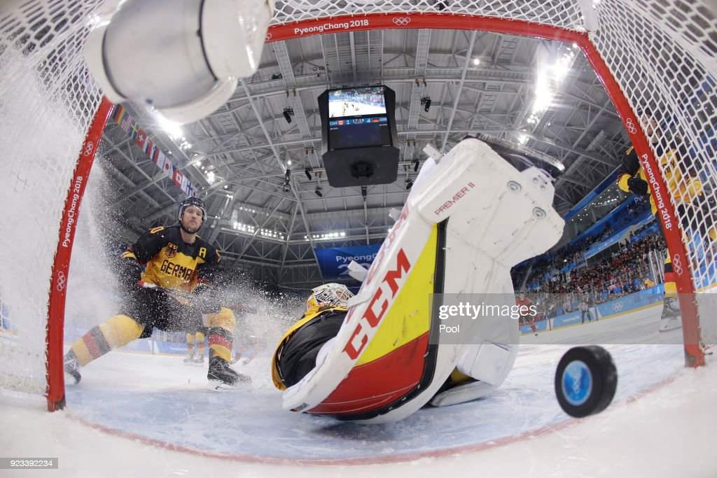 Danny Aus Den Birken #33 of Germany allows a goal against Canada during the Men's Play-offs Semifinals on day fourteen of the PyeongChang 2018 Winter Olympic Games at Gangneung Hockey Centre on February 23, 2018 in Gangneung, South Korea.