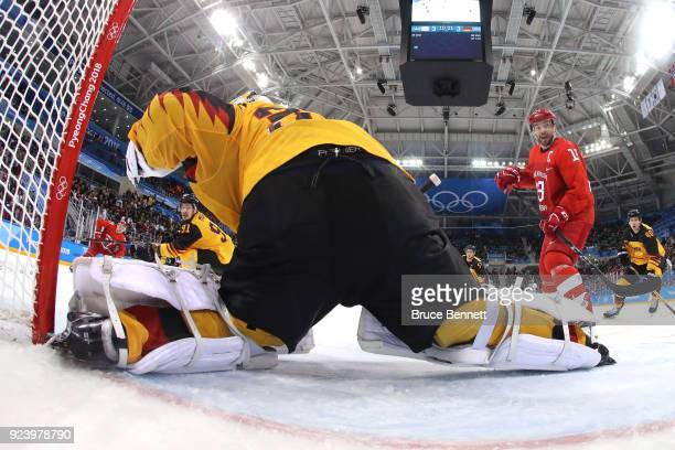 Danny Aus Den Birken of Germany allows the game winning goal in overtime against Kirill Kaprizov of Olympic Athlete from Russia during the Men's Gold...