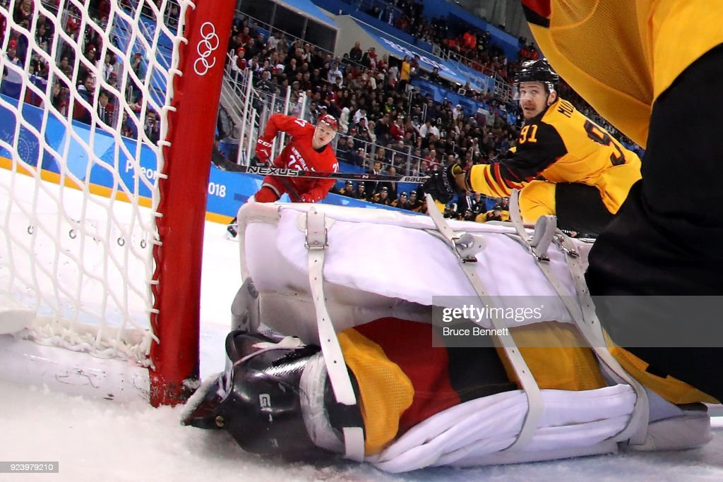 Danny Aus Den Birken #33 of Germany allows the game winning goal in overtime against Kirill Kaprizov #77 of Olympic Athlete from Russia during the Men's Gold Medal Game on day sixteen of the PyeongChang 2018 Winter Olympic Games at Gangneung Hockey Centre on February 25, 2018 in Gangneung, South Korea.