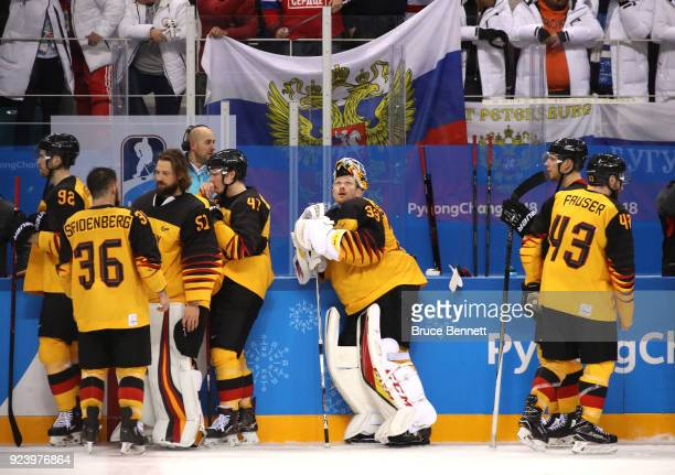 Danny Aus Den Birken of Germany looks on after being defeated by Olympic Athletes from Russia in overtime 43 during the Men's Gold Medal Game on day...