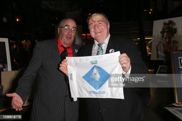 Danny Baker and a fellow guest attend Guy's Head And Neck Charity Dinner at M Threadneedle Street on September 20, 2018 in London, England.