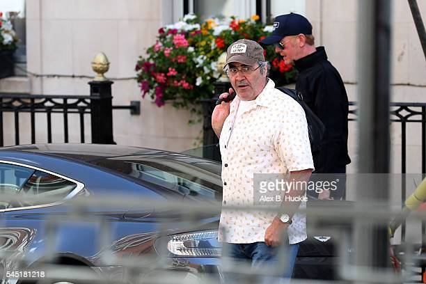 Danny Baker and Chris Evans seen after meeting James Corden at a cafe on July 6, 2016 in London, England.