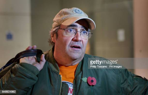 Danny Baker talking outside BBC Broadcasting House in London after his BBC London programme was axed