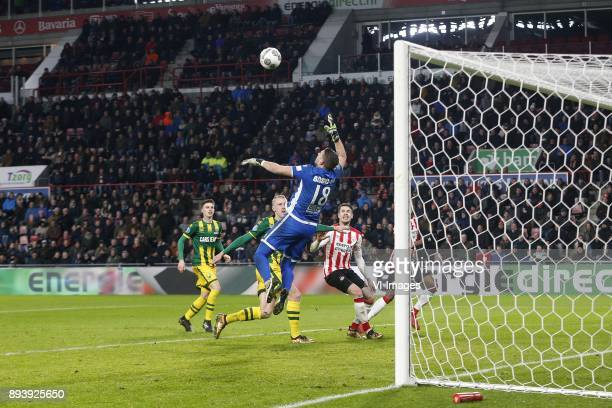 Danny Bakker of ADO Den Haag Lex Immers of ADO Den Haag Tim Coremans of ADO Den Haag Marco van Ginkel of PSV Nicolas IsimatMirin of PSV during the...