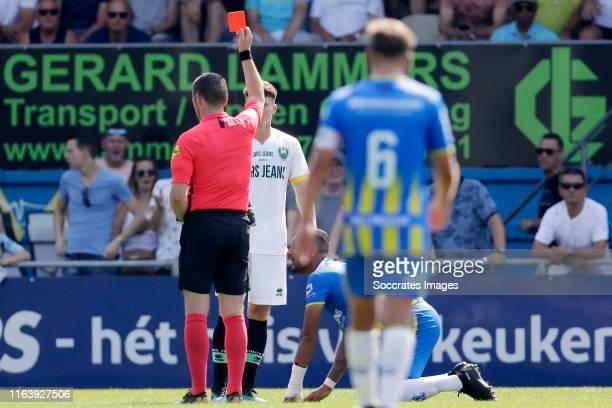 Danny Bakker of ADO Den Haag receives a red card from referee Edwin van de Graaf during the Dutch Eredivisie match between RKC Waalwijk v ADO Den...