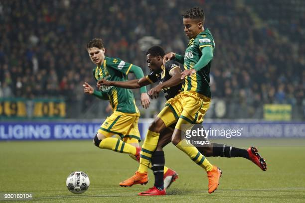 Danny Bakker of ADO Den Haag Thomas Agyepong of NAC Breda Tyronne Ebuehi of ADO Den Haag during the Dutch Eredivisie match between ADO Den Haag and...