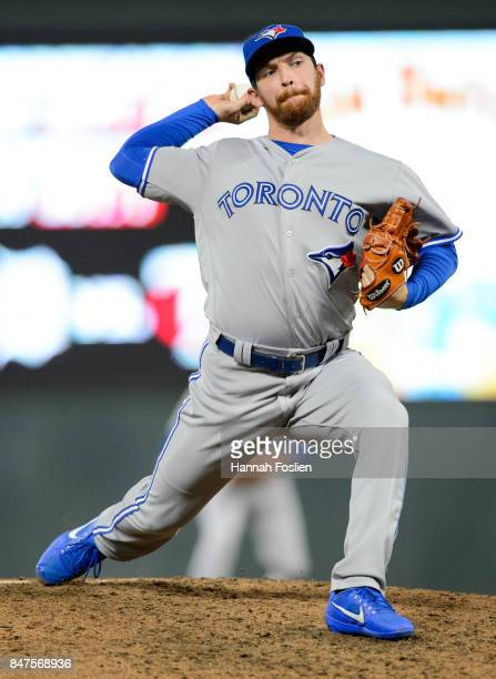 Danny Barnes of the Toronto Blue Jays delivers a pitch against the Minnesota Twins during the game on September 14 2017 at Target Field in...