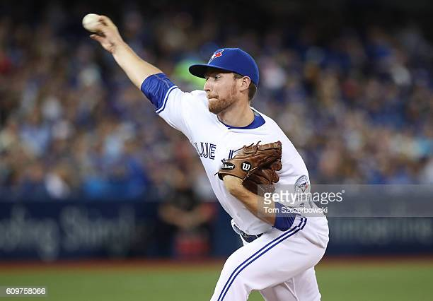 Danny Barnes of the Toronto Blue Jays delivers a pitch in the fifth inning during MLB game action against the Boston Red Sox on September 9 2016 at...