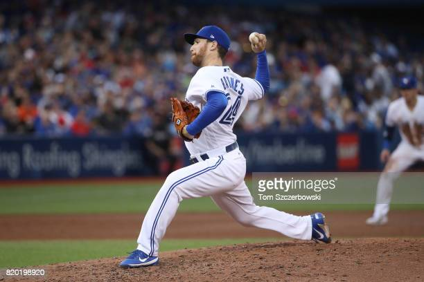 Danny Barnes of the Toronto Blue Jays delivers a pitch in the fifth inning during MLB game action against the Boston Red Sox at Rogers Centre on June...
