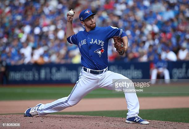 Danny Barnes of the Toronto Blue Jays delivers a pitch in the seventh inning during MLB game action against the Boston Red Sox on September 11 2016...