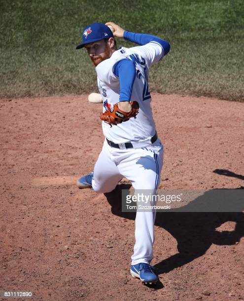 Danny Barnes of the Toronto Blue Jays delivers a pitch in the seventh inning during MLB game action against the Pittsburgh Pirates at Rogers Centre...