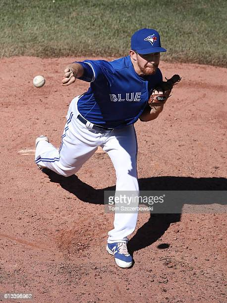 Danny Barnes of the Toronto Blue Jays delivers a pitch in the sixth inning during MLB game action against the Tampa Bay Rays on September 14 2016 at...