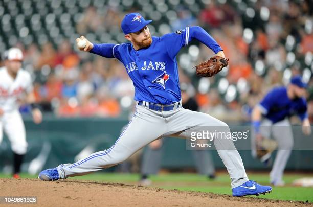 Danny Barnes of the Toronto Blue Jays pitches against the Baltimore Orioles at Oriole Park at Camden Yards on August 27 2018 in Baltimore Maryland