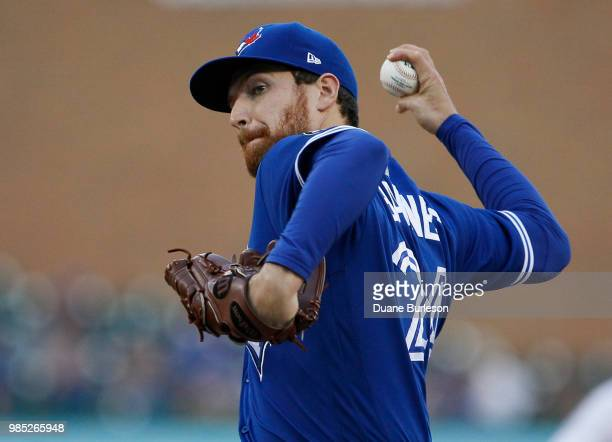 Danny Barnes of the Toronto Blue Jays pitches against the Detroit Tigers at Comerica Park on June 1 2018 in Detroit Michigan