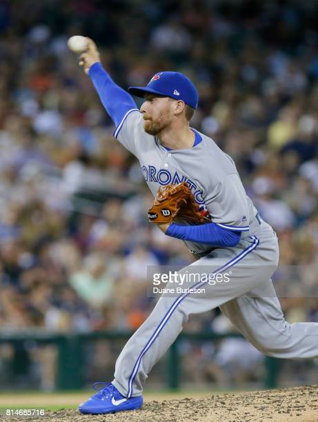 Danny Barnes of the Toronto Blue Jays pitches against the Detroit Tigers during the seventh inning at Comerica Park on July 14 2017 in Detroit...