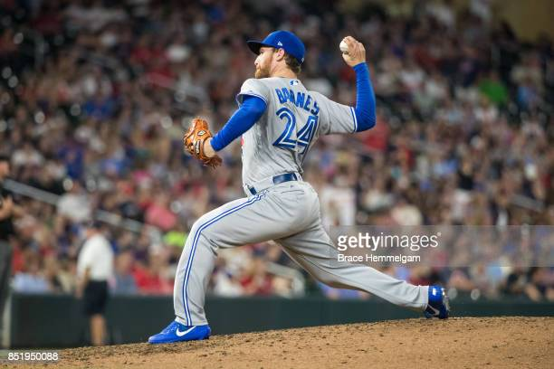 Danny Barnes of the Toronto Blue Jays pitches against the Minnesota Twins on September 14 2017 at Target Field in Minneapolis Minnesota The Twins...